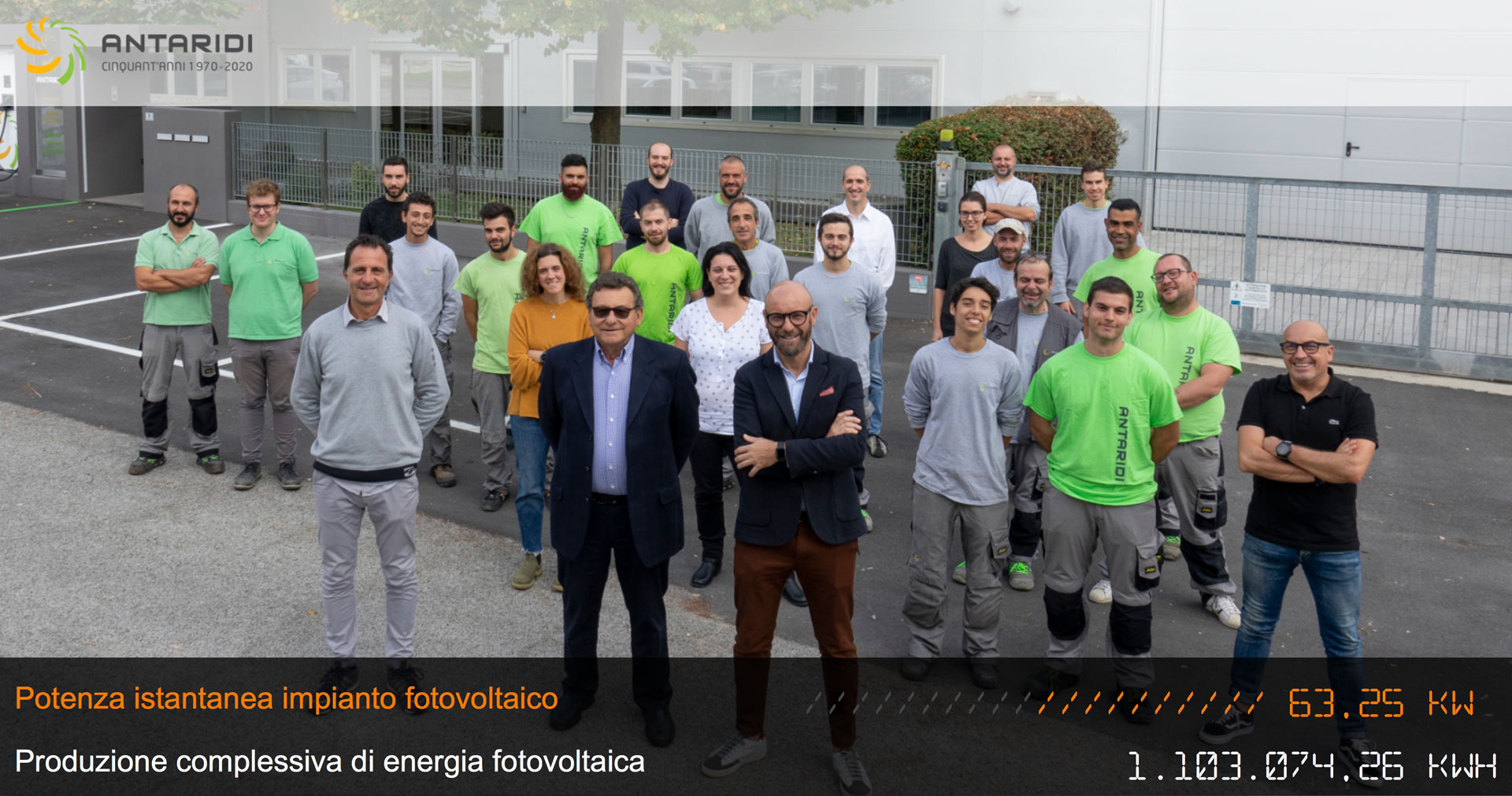 Guarda la potenza istantanea e complessiva dell'impianto fotovoltaico della nostra azienda.